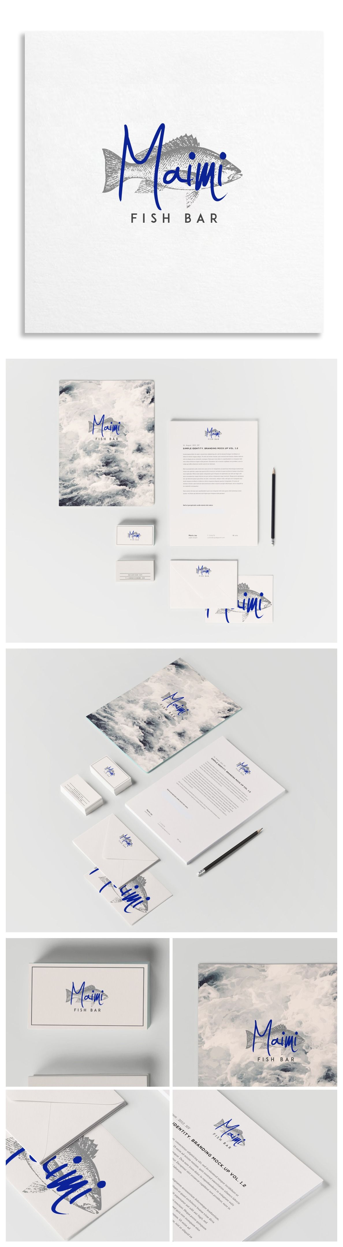 Maimi Fish Bar branding and #stationery design. Love the bold blue text over a simple grey illustration