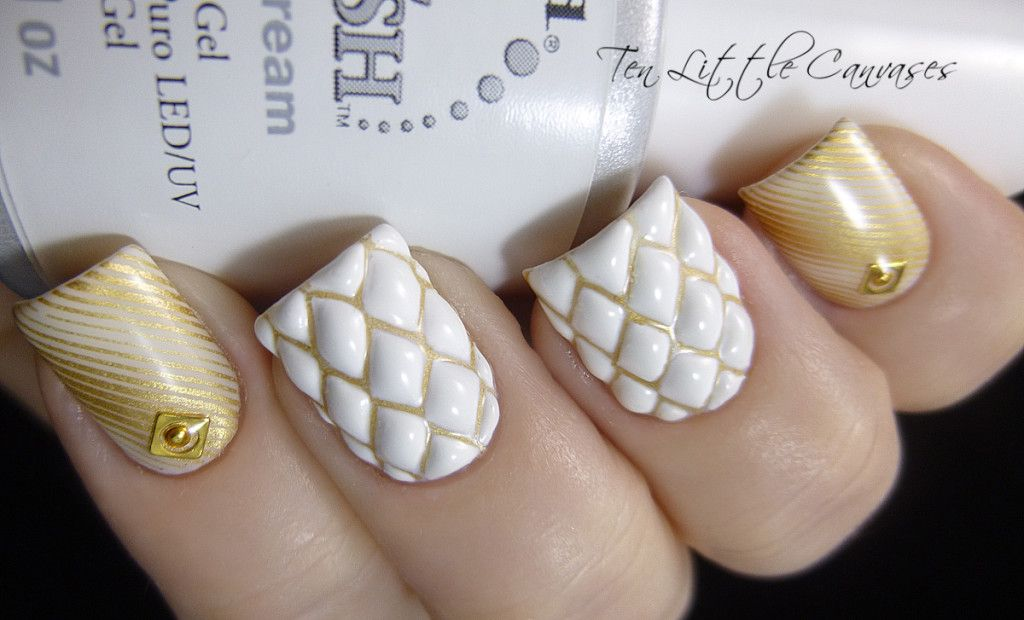 Weekly Mani Quilted Nail Design Ten Little Canvases