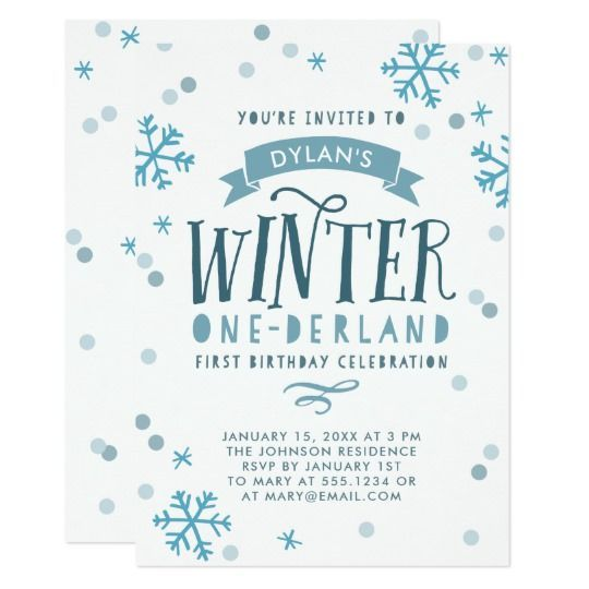 Blue Winter Onederland First Birthday Party Invitation #winteronederland #firstbirthday #birthdaypartyinvitations #ad