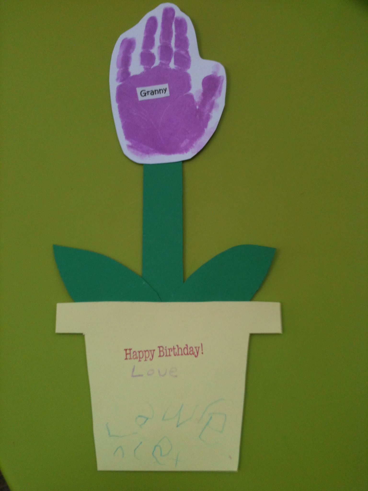 Card made by my 4 year old boy for his granny, copied idea ...