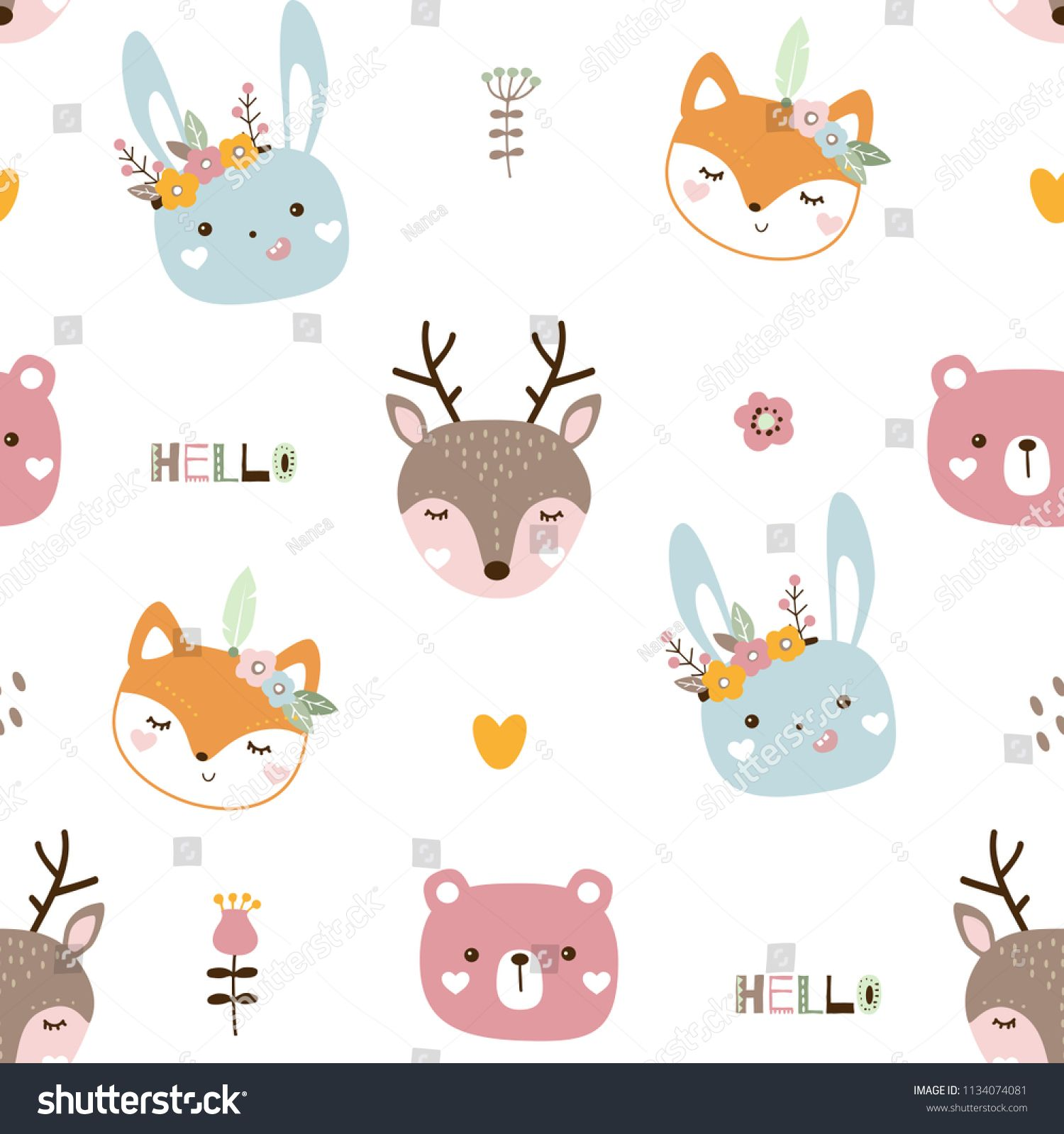 Seamless Pattern With Cute Animals Kids Animals On White Background Vector Illustration Ad Ad Cute Animals For Kids Seamless Patterns Printing On Fabric