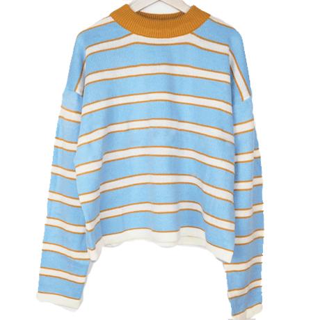 Blue yellow stripes cute o neck sweater