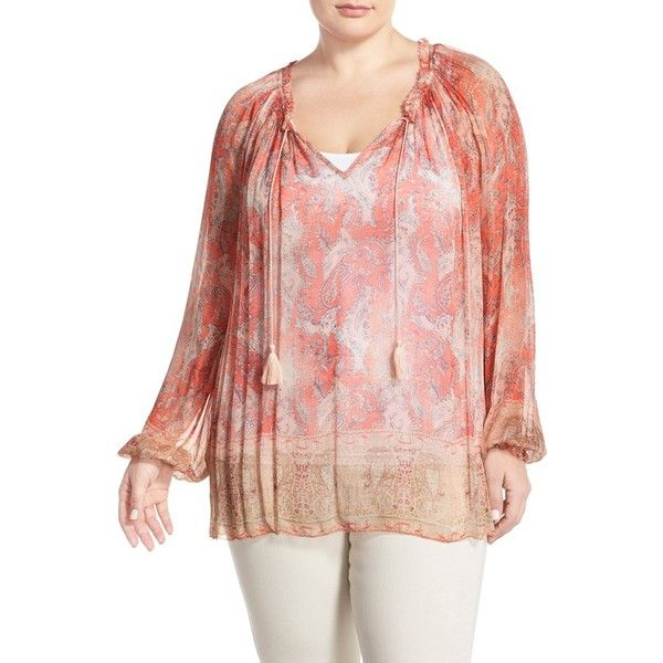 f801963b1ce Lucky Brand  Faded Paisley  Print Peasant Top ( 99) ❤ liked on Polyvore