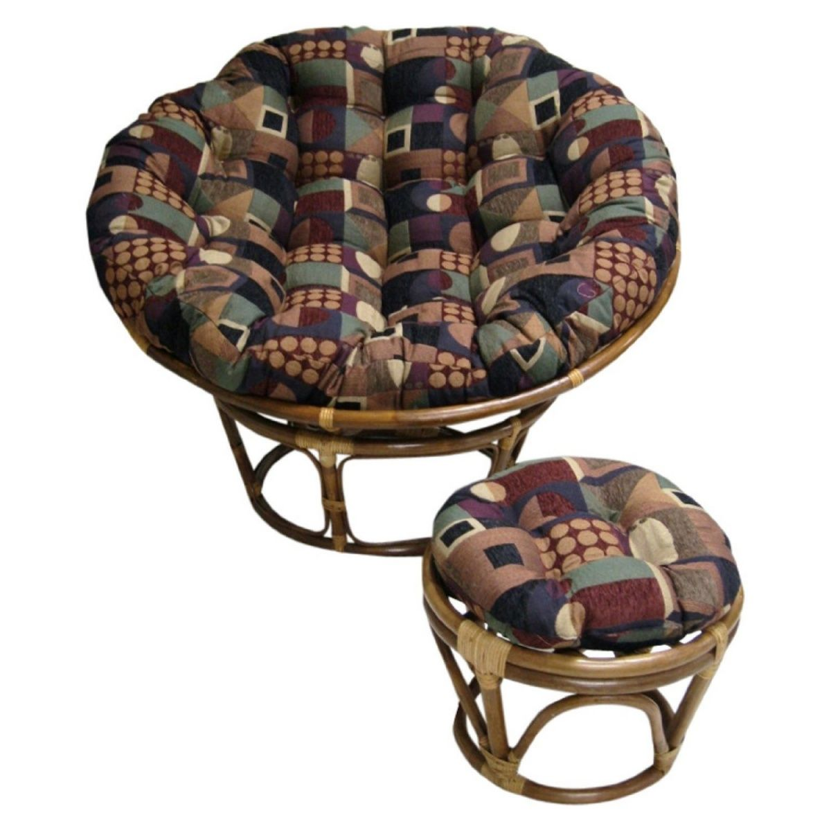Rattan Papasan Chair Cushion With Ottoman | Double Papasan Frame | Double Papasan  Chair Cushion