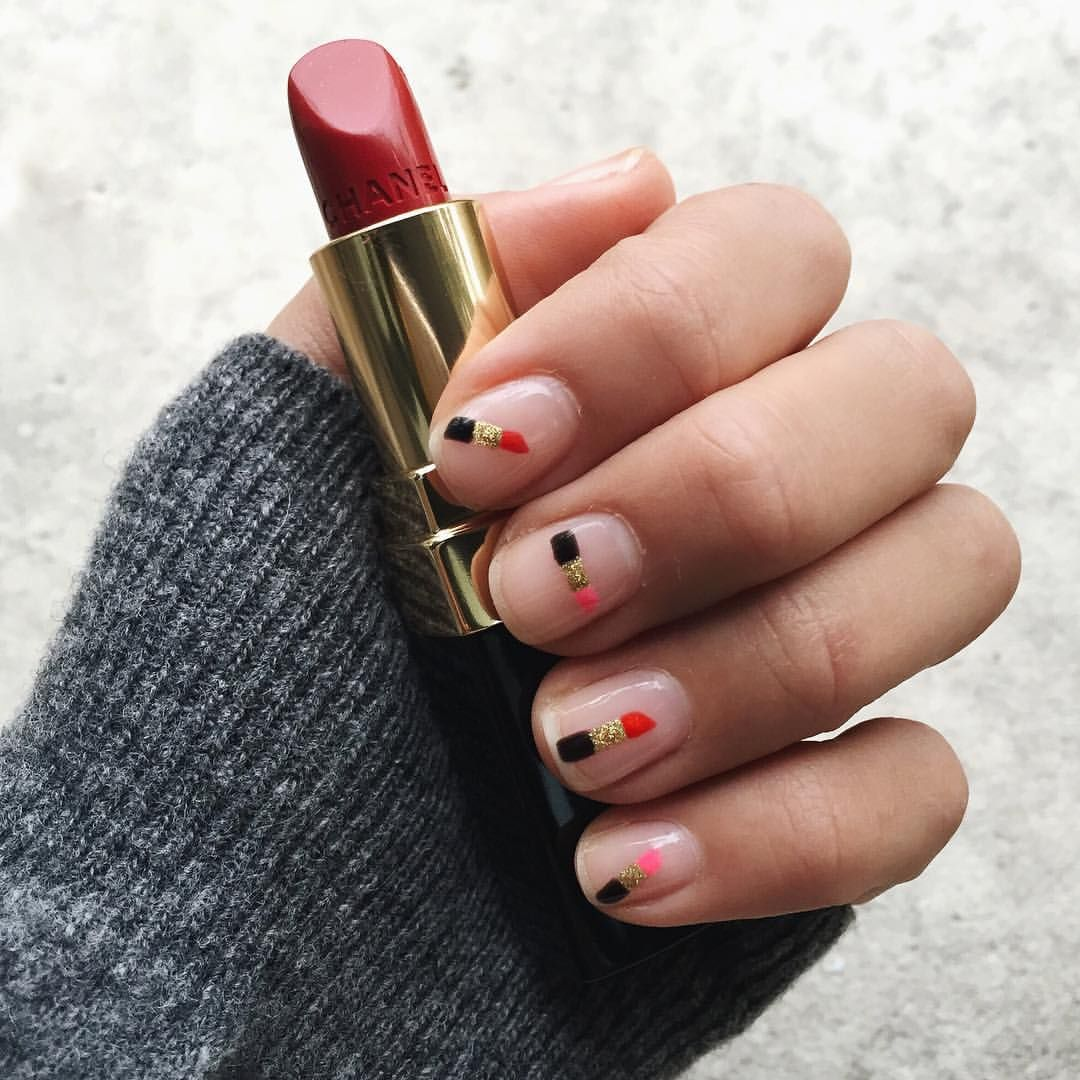 """Aimee Song on Instagram: """"Got inspired by the red lipstick Parisian women wear so I got these done by @enameldiction for #pfw! """""""
