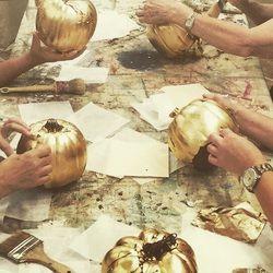 pearly pumpkins + gilded gourds workshop at creative finishes studio.  |www.creativefinishesstudio.com|
