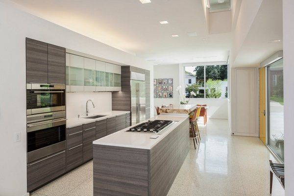 contemporary kitchen designs kitchen island cooktop terrazzo floor dining area - Contemporary Kitchen Floors