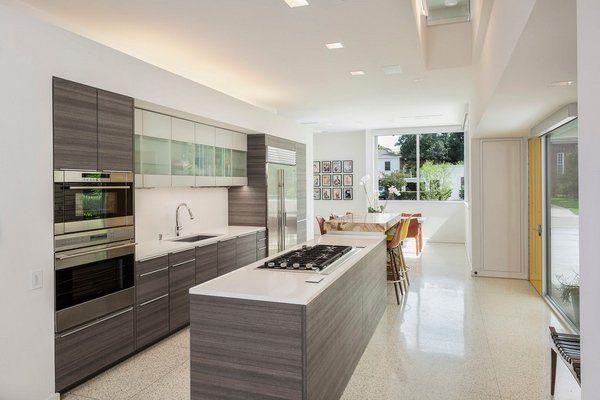 Contemporary Kitchen Designs Island Cooktop Terrazzo Floor Dining Area