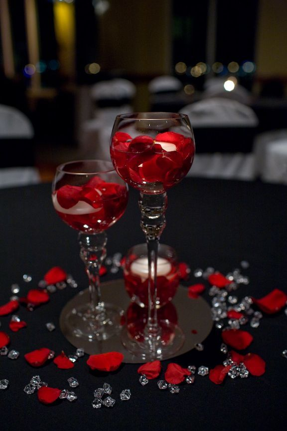 Simple But Sweet Idea For Wedding Table Decorations Using Red Roses And Rose Petals Flowers White Wedding