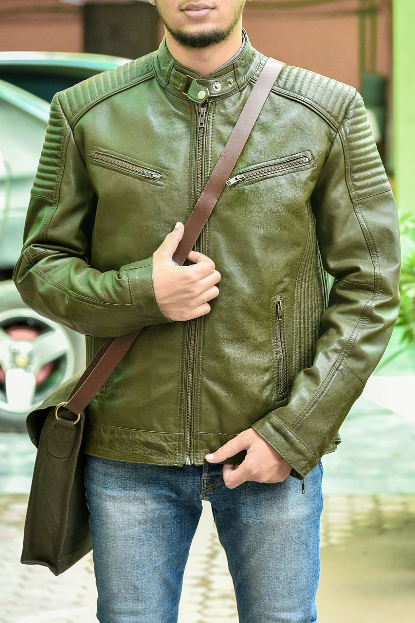 Men S Olive Green Biker Style Soft Padded Real Lambskin Leather Jacket Boutique England Jackets Leather Jacket Men Lambskin Leather Jacket [ 1280 x 853 Pixel ]