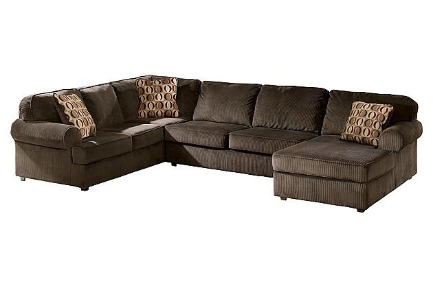 Ashley Chocolate Vista 3 Piece Sectional View 2 Decor