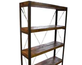 Konk Oak Steel Classic Bookcase Bookshelf Industrial Shelving