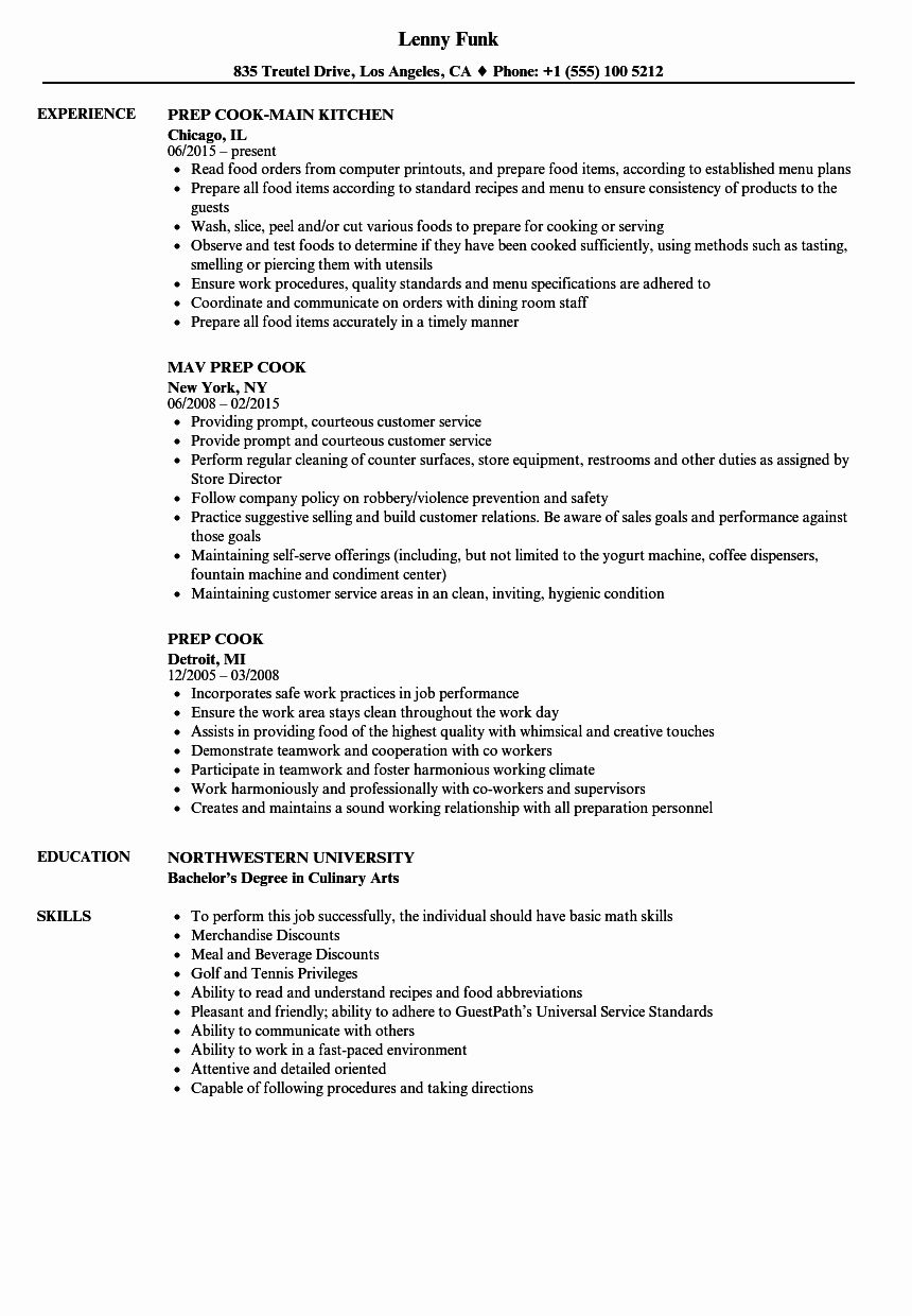Line Cook Resume Examples Fresh Prep Cook Resume Samples