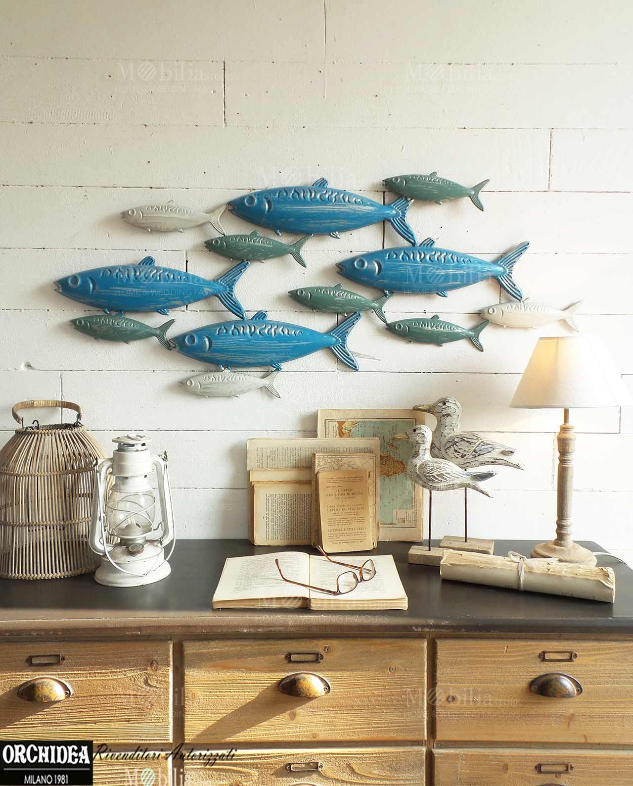 Pannelli parete decorativi con pesci realizzata in for Targhe decorative in legno
