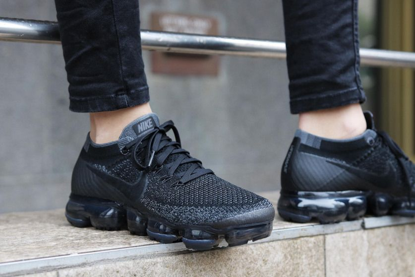 This new Nike Air Vapormax is a women s exclusive and arrives dressed in an  all blacked out colour scheme. Sporting a knitted up. 0ab1ac2e4