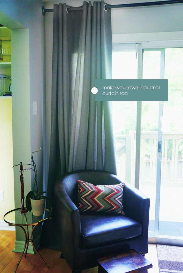 Make your own industrial curtain rod accent #decor #budget #diy #livingroom #home #style