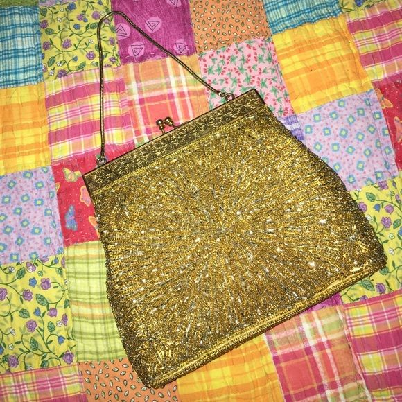 Antique beaded purse Gold with beautiful gold beads. The snap at the top has iridescent crystals on them Bags Clutches & Wristlets