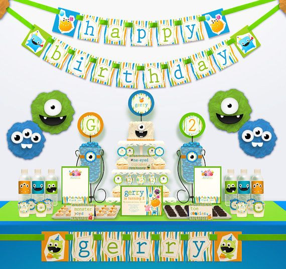 Little Monster Birthday Party Package Personalized HUGE Collection