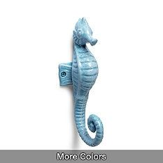 "seahorse wall hook - Frontgate  $24.50 washed blue, white, washed seafoam green 7 1/2 "" L x 2 1/4"" W x 3"" H"