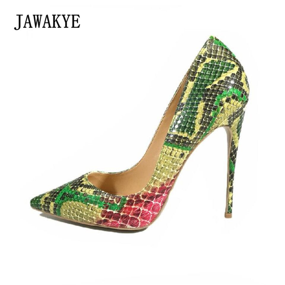 JAWAKYE Snakeskin High Heel Shoes Woman Pointed Toe Mixed Color 12CM heeled  Pumps Woman Sexy Party Shoes e811a097a569