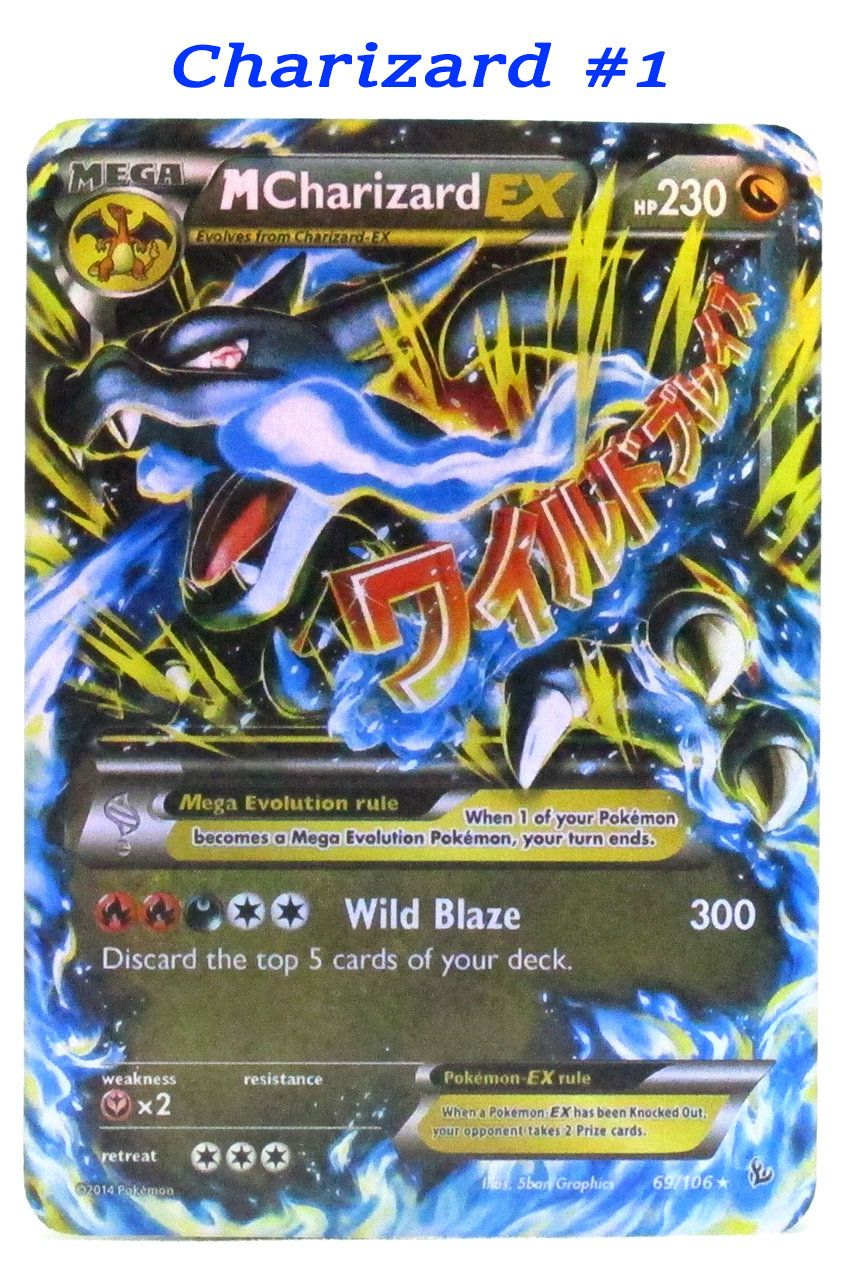 Pokemon Card Ex Mega Hand Made Plastic Laminated Cards Charizard