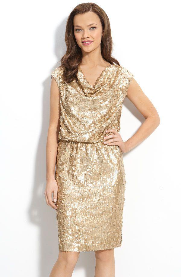 abb964a7 NWT ELIZA J Gold Sequin Drape Neck Knee-length Cocktail Dress, Size ...