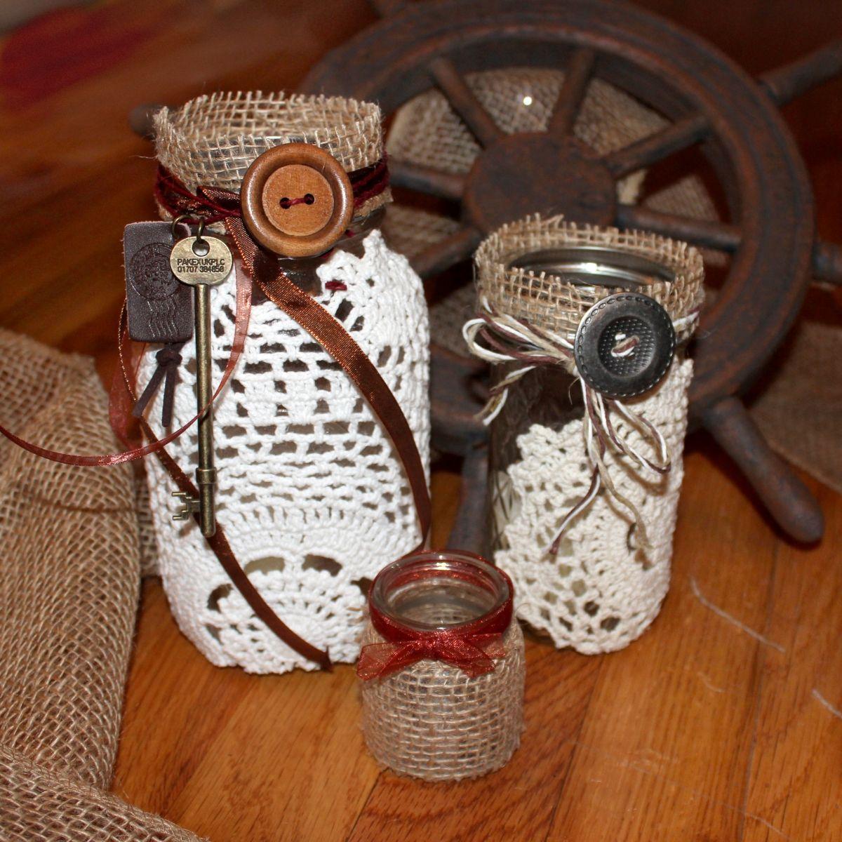 Vintagey steampunk diy mason jars