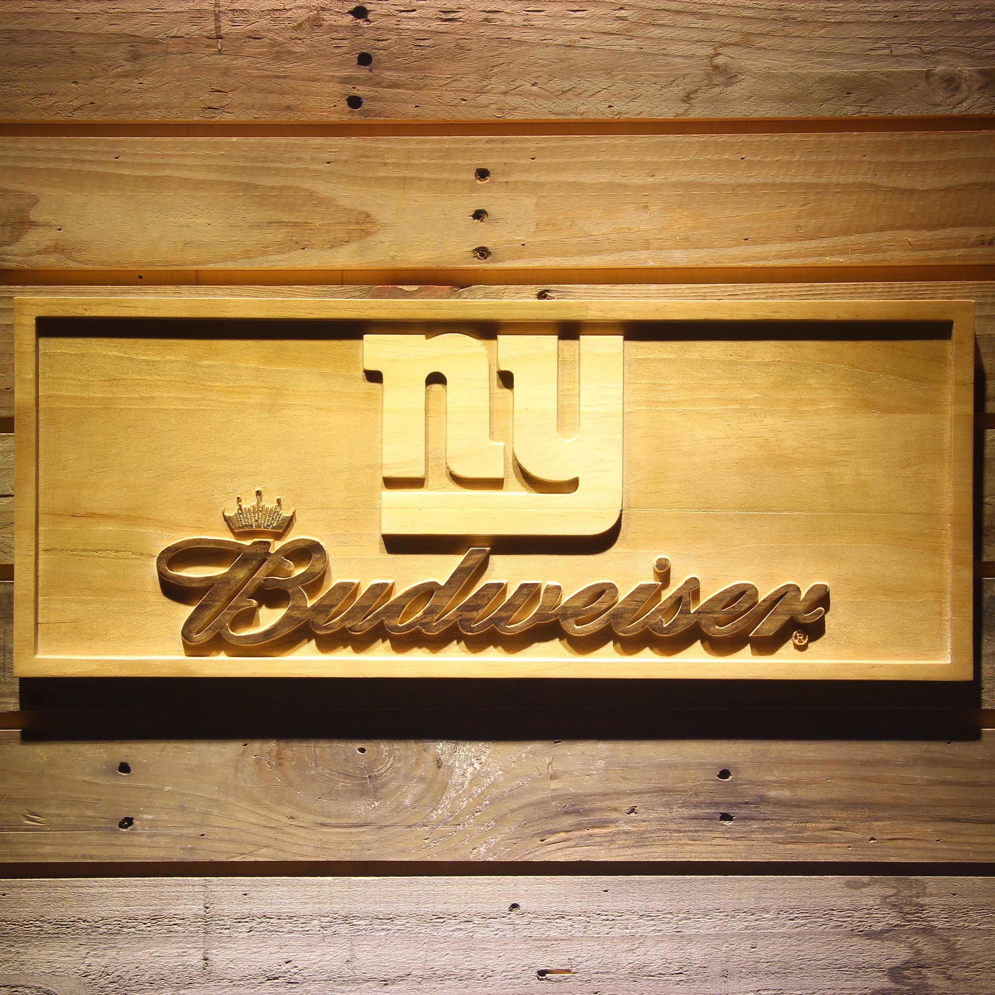 New York Giants Budweiser Beer 3D Wooden Bar Sign #Dubnation #MLB ...