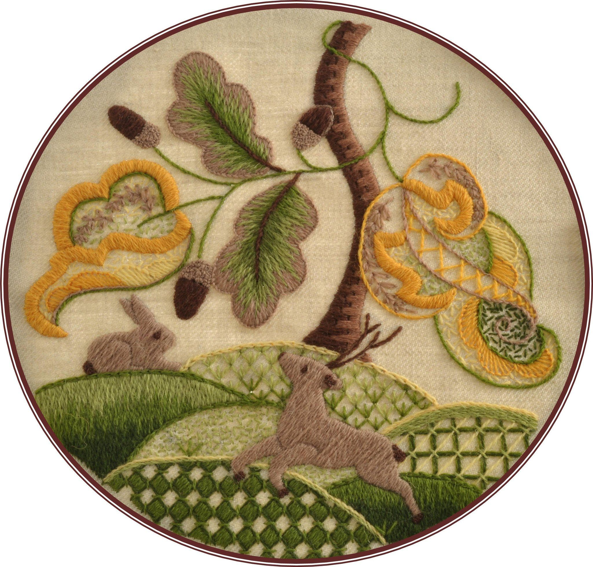 Crewel work woodland animals wool thread embroidery techniques