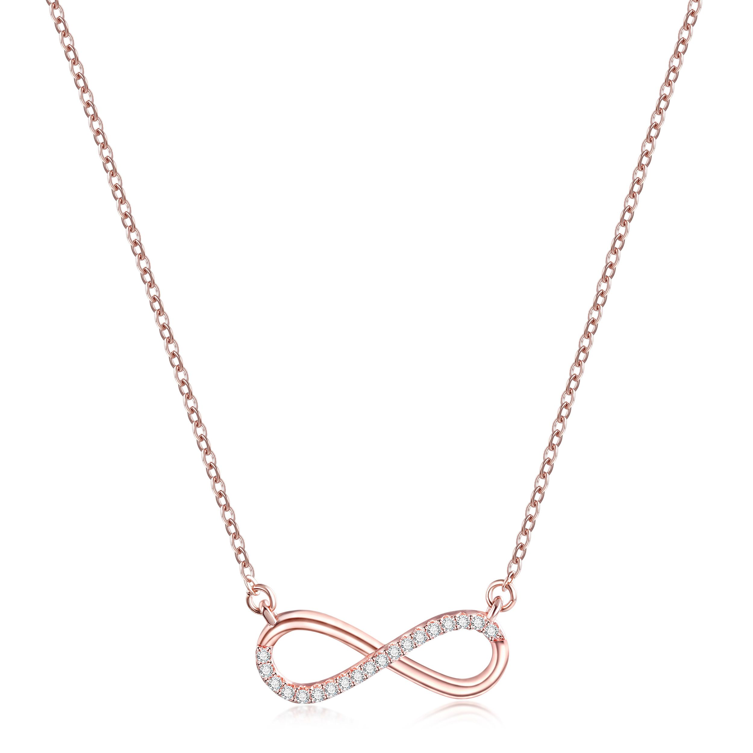 Double Infinity Charm Pendant Love Forever Sterling Silver /& CZ Crystal Necklace