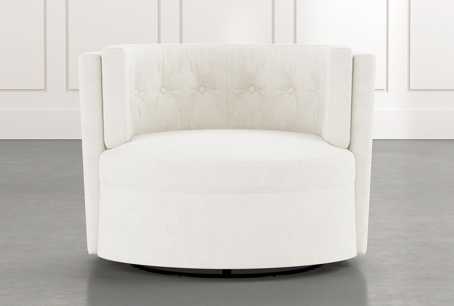 Aidan Ii White Swivel Accent Chair In 2020 White Swivel Accent Chair Oversized Chair Living Room White Swivel Chairs