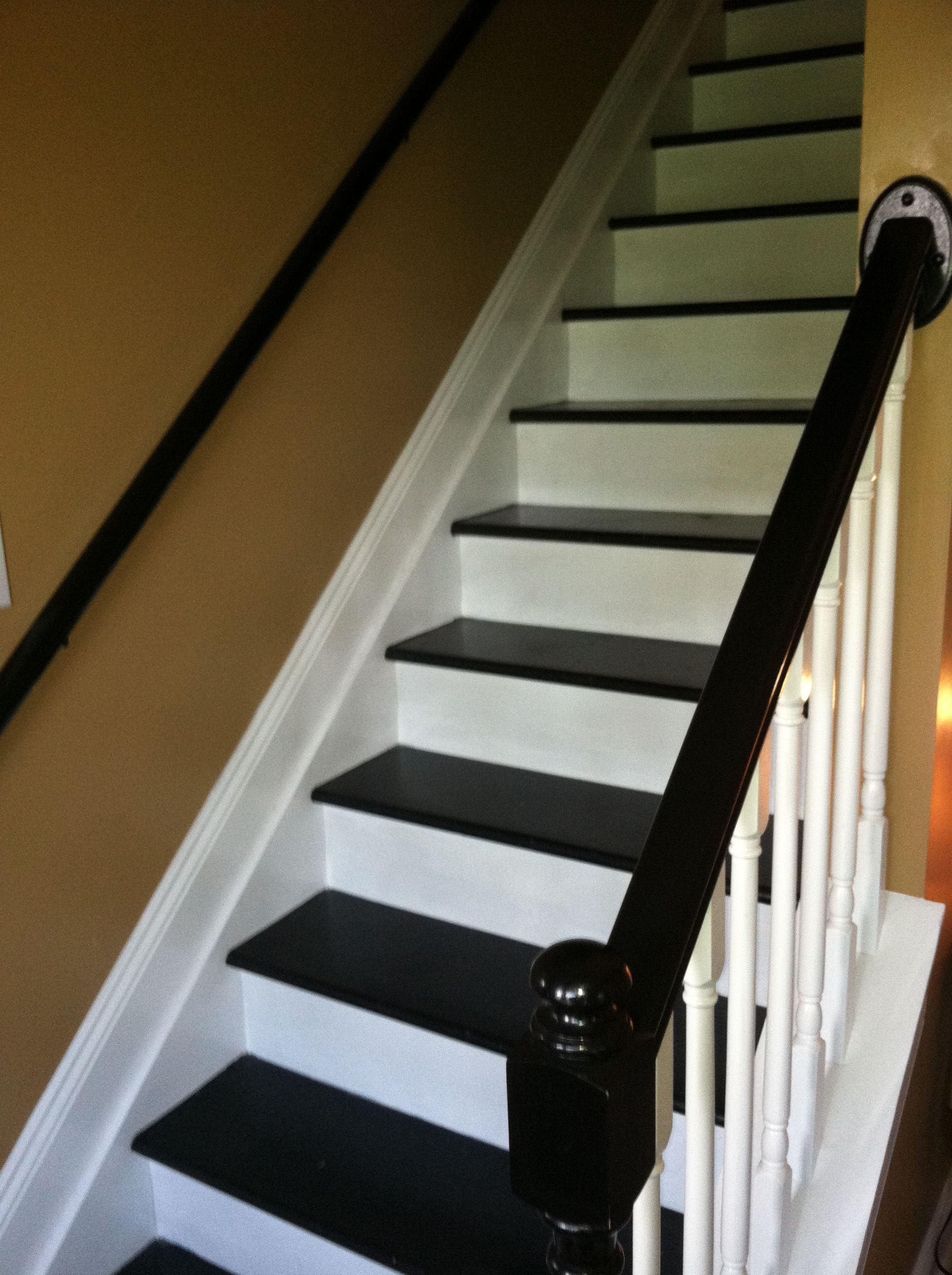 Our Painted Black And White Staircase Used To Be Carpet