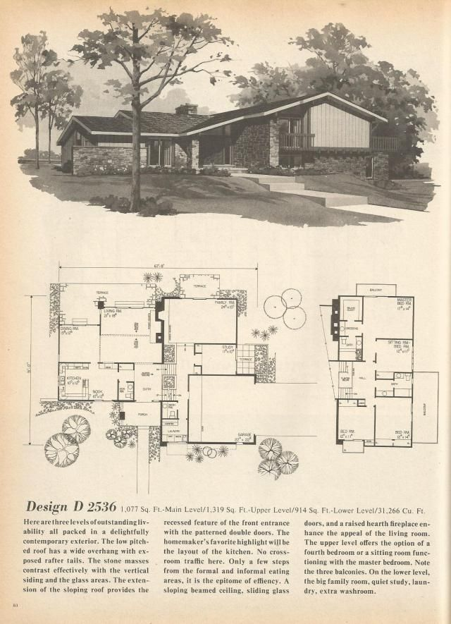 vintage house plans mid century homes 1970s homes - 1970s House Designs