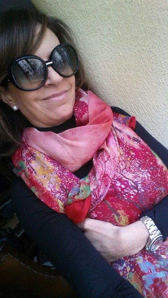 fular o chal de seda rojo con forro julunggul www.julunggul.com