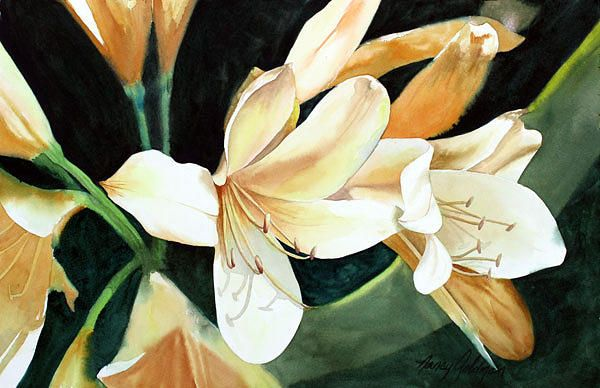 Soft Yellow Clivia Painting by Nancy Goldman - Soft Yellow Clivia Fine Art Prints and Posters for Sale