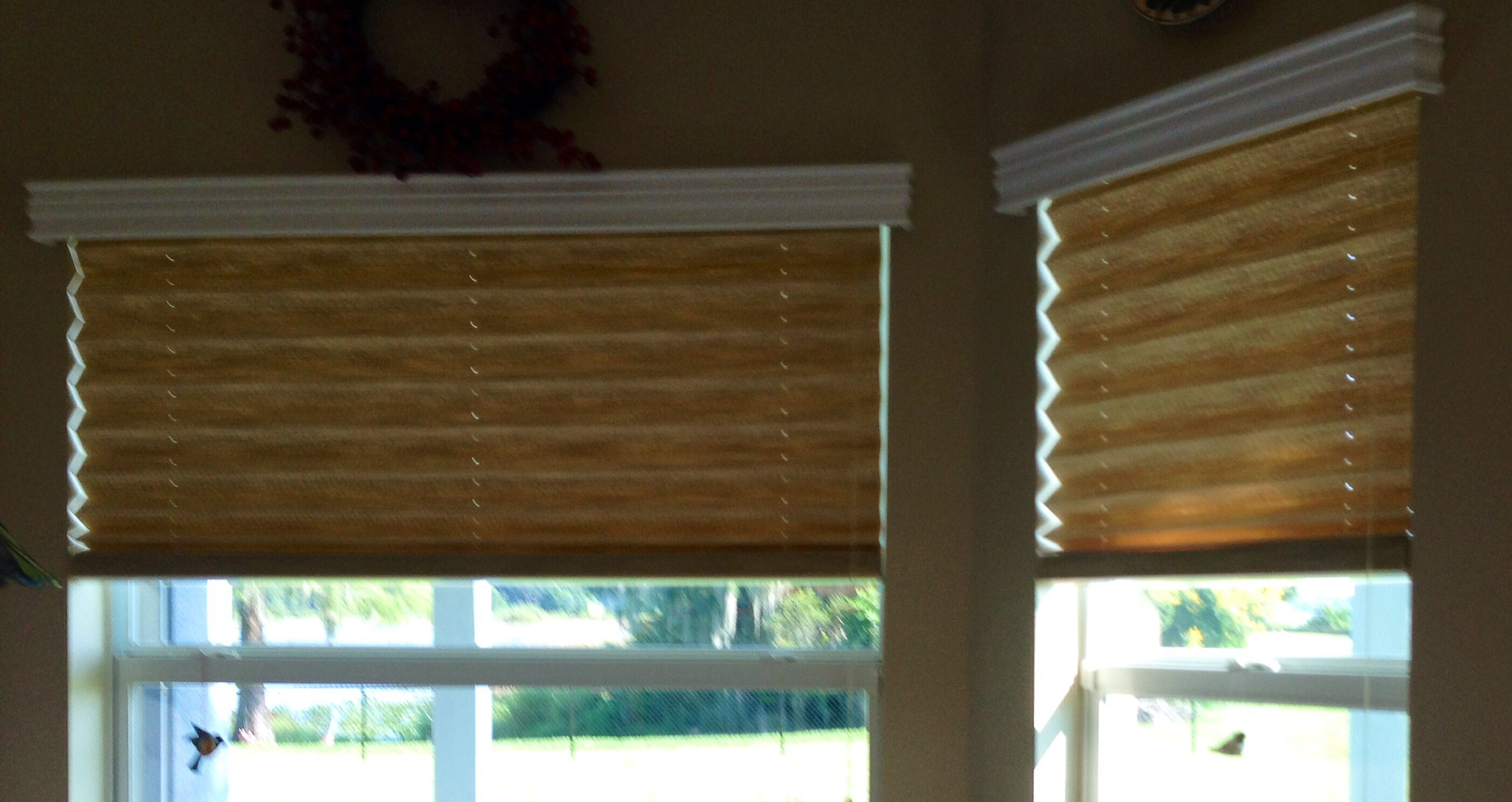 Signature Series Pleated Shades With Privacy Liner And Wood Valances Available At Budget Blinds