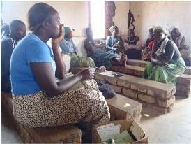 Microcredit clients of MicroLoan Foundation attending a center meeting in Malawi.