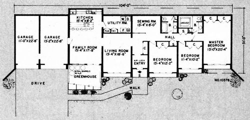 Single level underground home plans plan no 10376 for Underground house plans