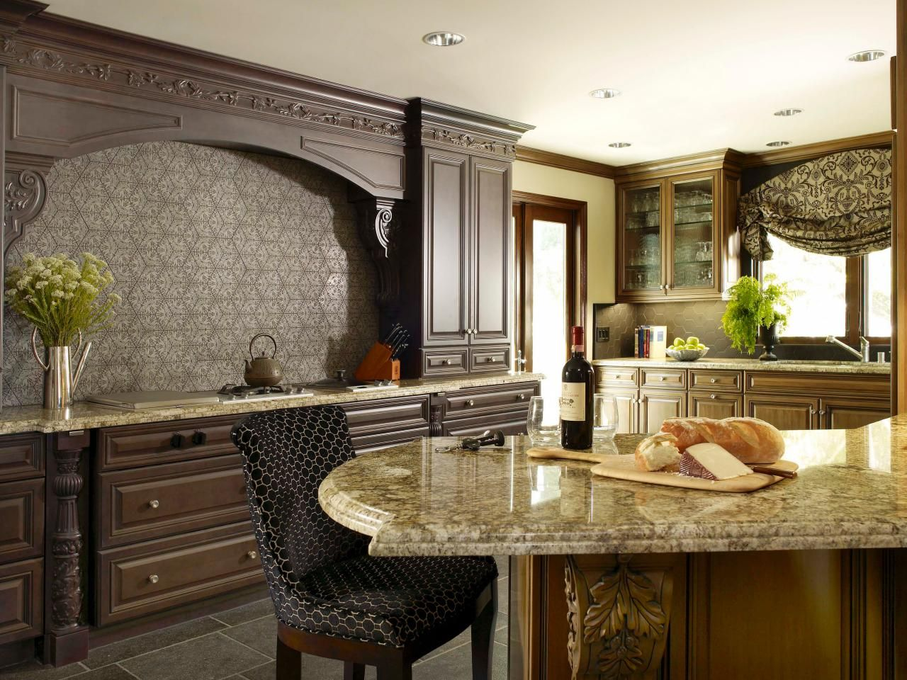 Kitchen Cabinets And Islands kitchen backsplashes | dark wood, concrete and moldings