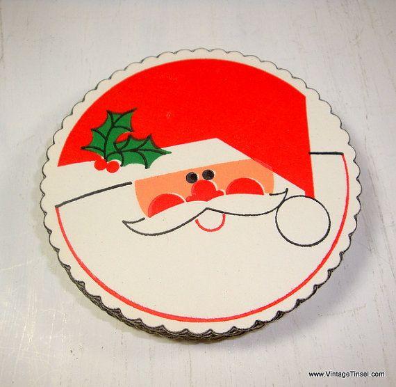 Christmas Paper Coasters Coctail Coasters Santa by VintageTinsel