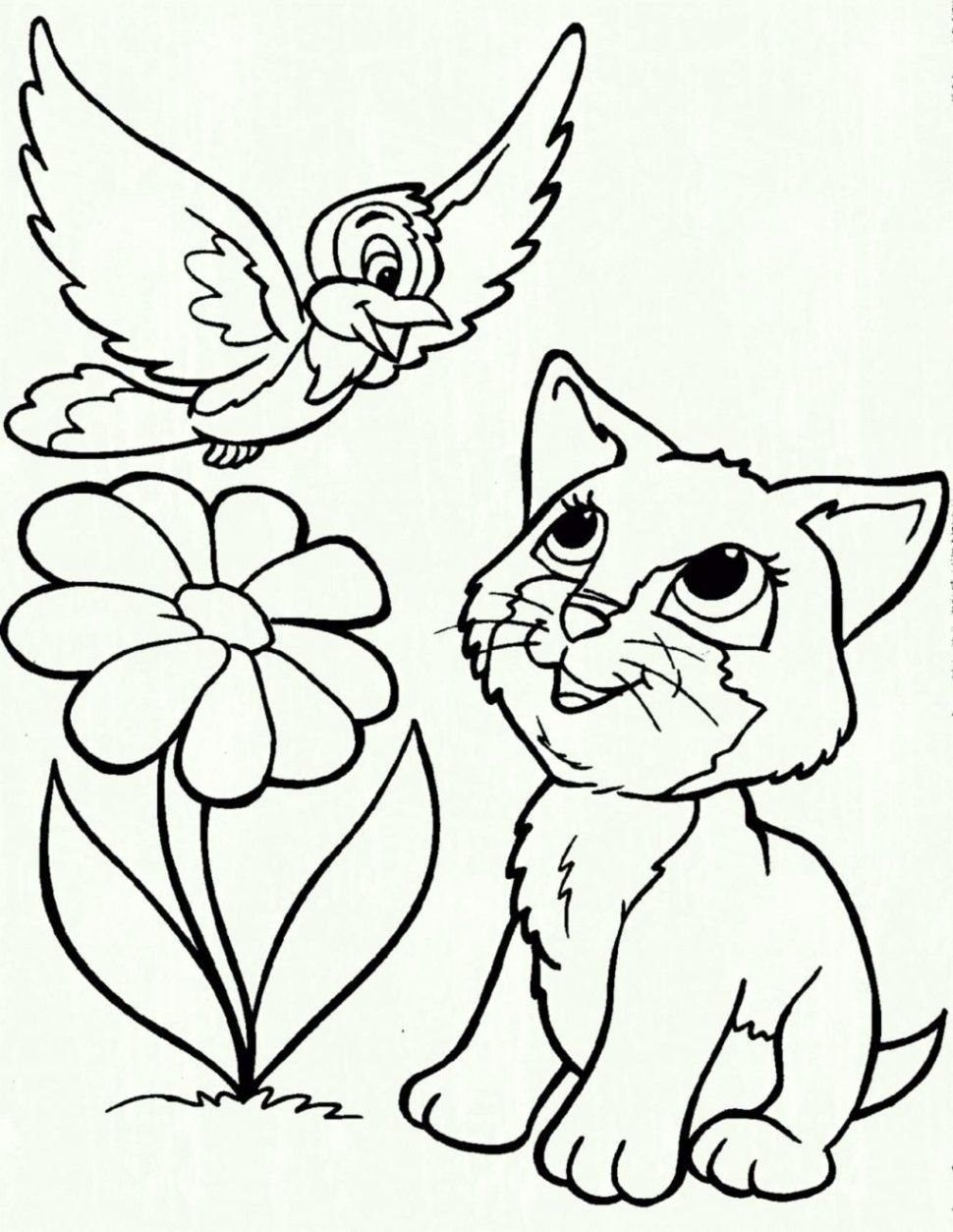 Coloring Page Cat And Dog Youngandtae Com Bird Coloring Pages Cat Coloring Page Kitten Coloring Book