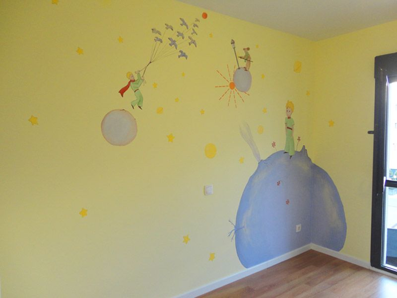 El principito pintado a mano alzada sobre la pared www - Vinilo el principito ...