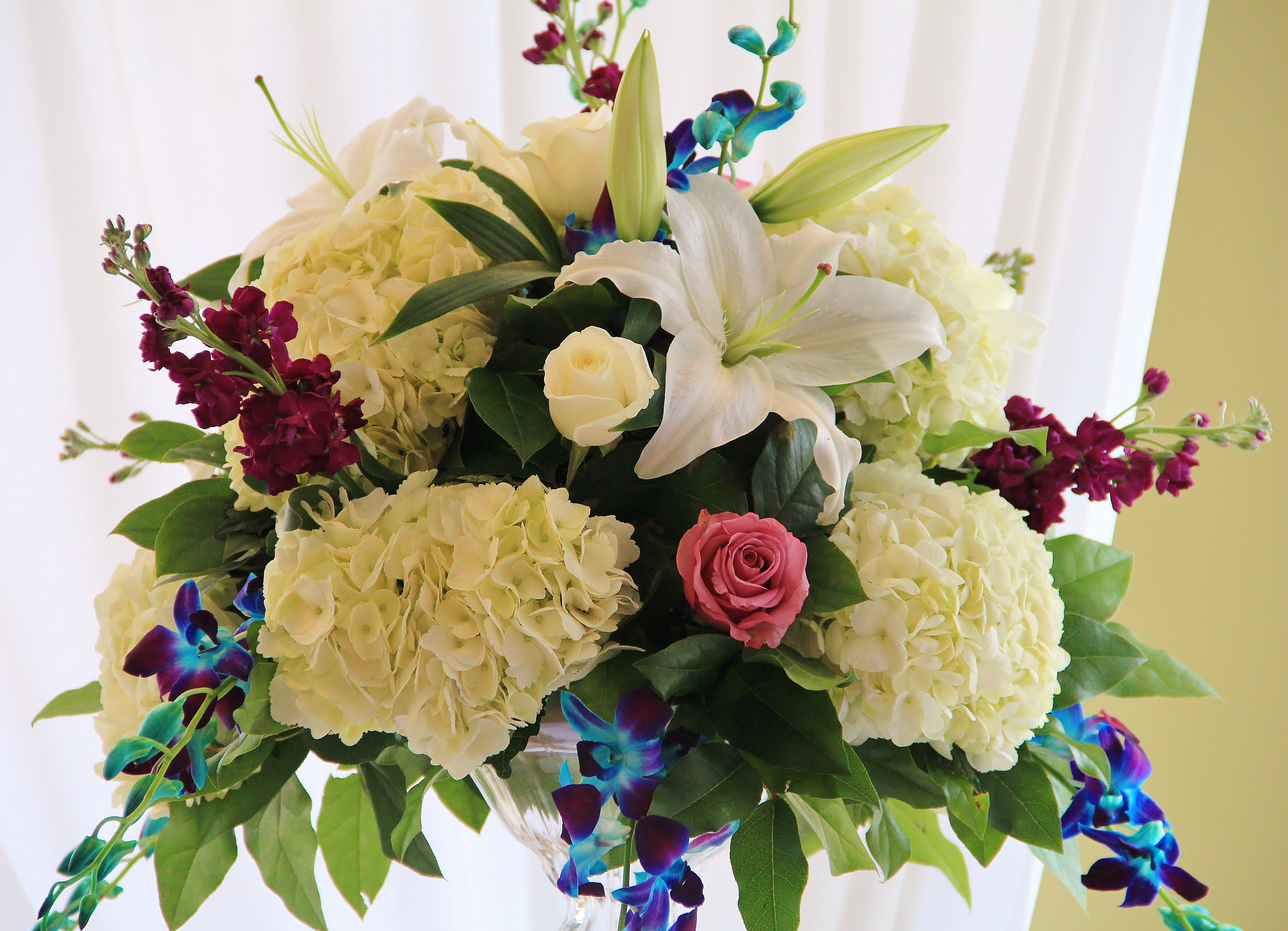 White hydrangeas purple and blue dendrobium orchids cool water