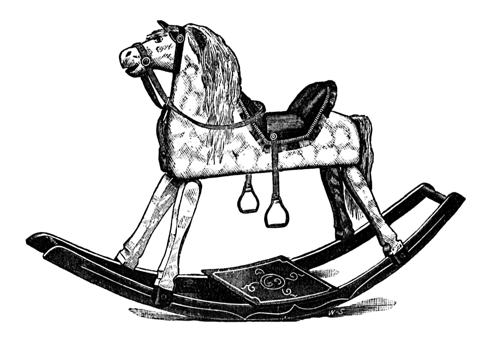 Old Victorian Rocking Horse Illustration Public Domain