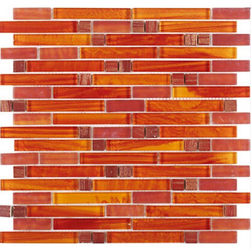 Tst Crystal Glass Mosaic Tile Red Orange Strip Interlocking Backsplash Wall Deco Glass Mosaic Tiles Red Backsplash Orange Tiles