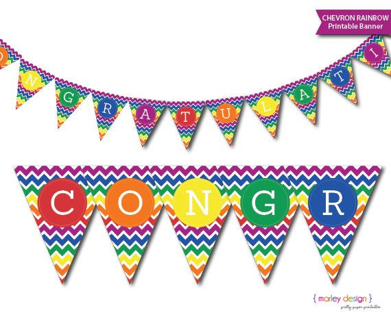 photo about Congratulations Banner Free Printable identified as Congratulations Banner Printable Fast Dowload Rainbow