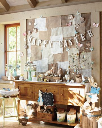Love this glittery Easter garland against the burlap wall cover. Super cute and would make a great DIY project.