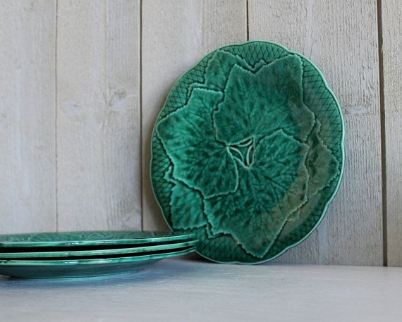 Antique Green Majolica Grape and leaf pattern Plate