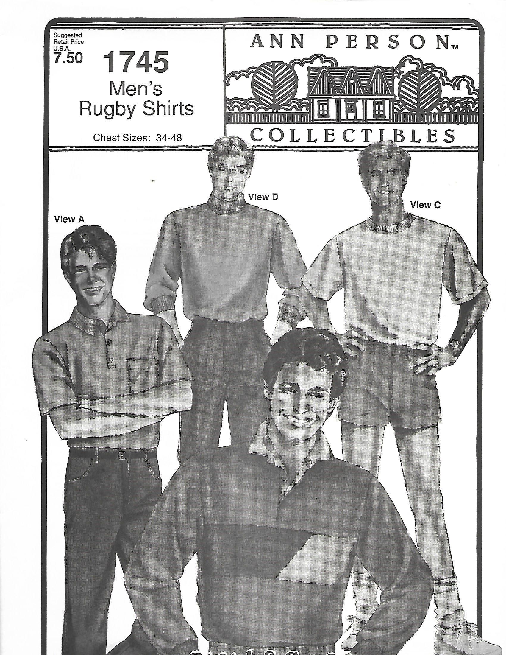 Stretch & Sew 1745 Men\'s Rugby Shirts Pattern, Size 34-48, UNCUT ...