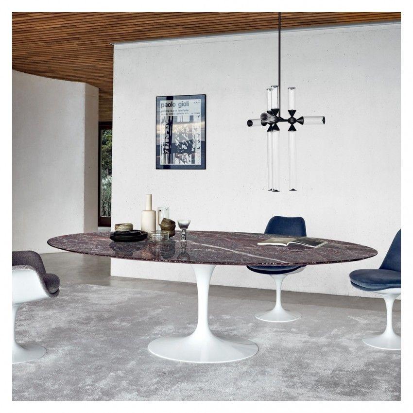 Tulip Dining Table Emperador Marble White Base 91cm Saarinen
